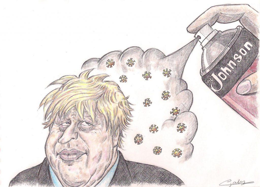 dessin d'actualité de Galy sur l'épidémie de coronavirus et l'hospitalisation de Boris Johnson en soins intensifs