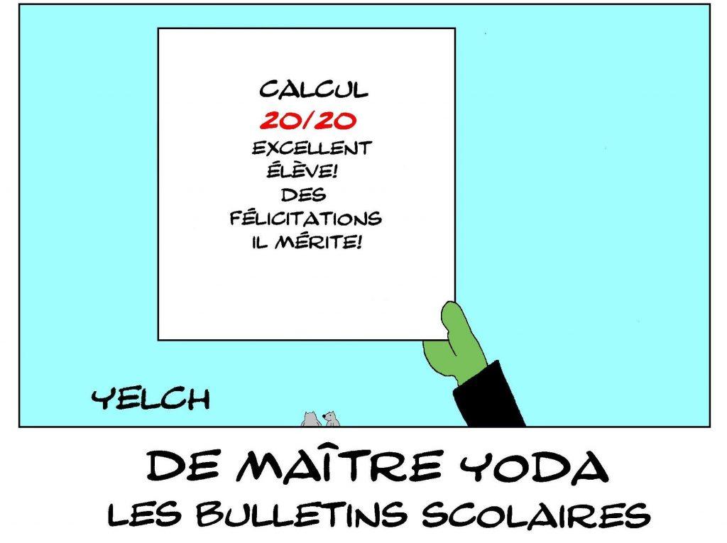 dessin humour image drôle Yoda école notes rire bulletin scolaire