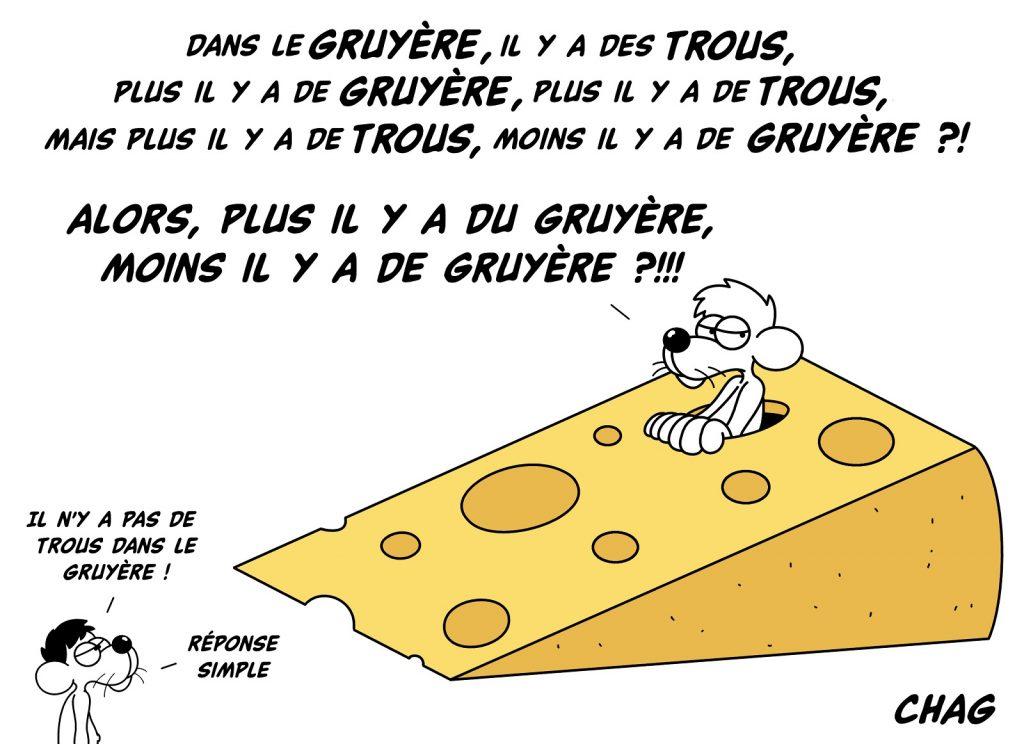 dessin d'humour de Chag sur le paradoxe du gruyère