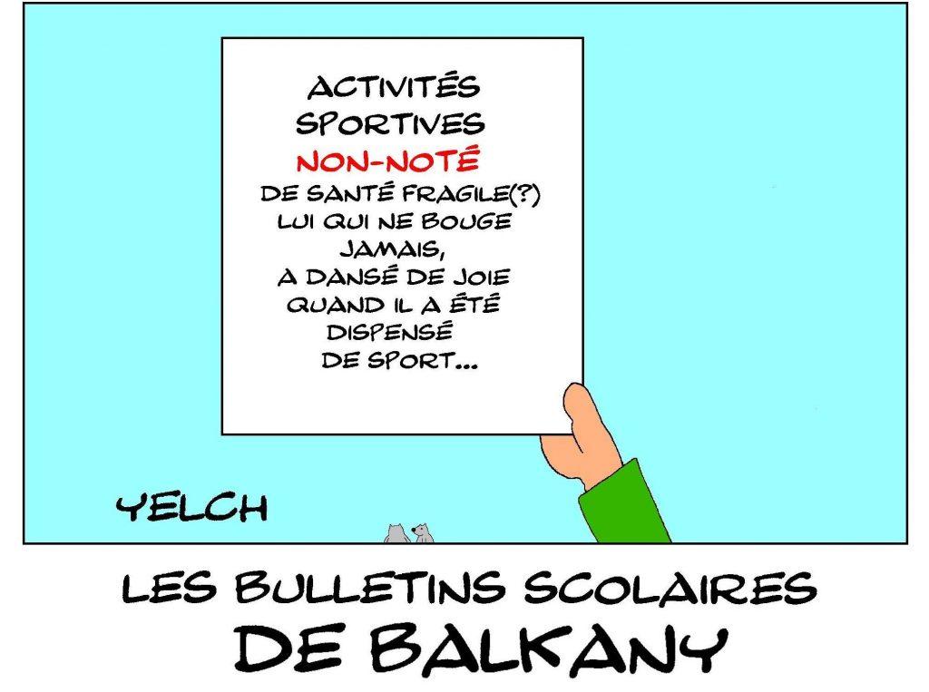 dessin humour image drôle Patrick Balkany école notes rire bulletin scolaire prison