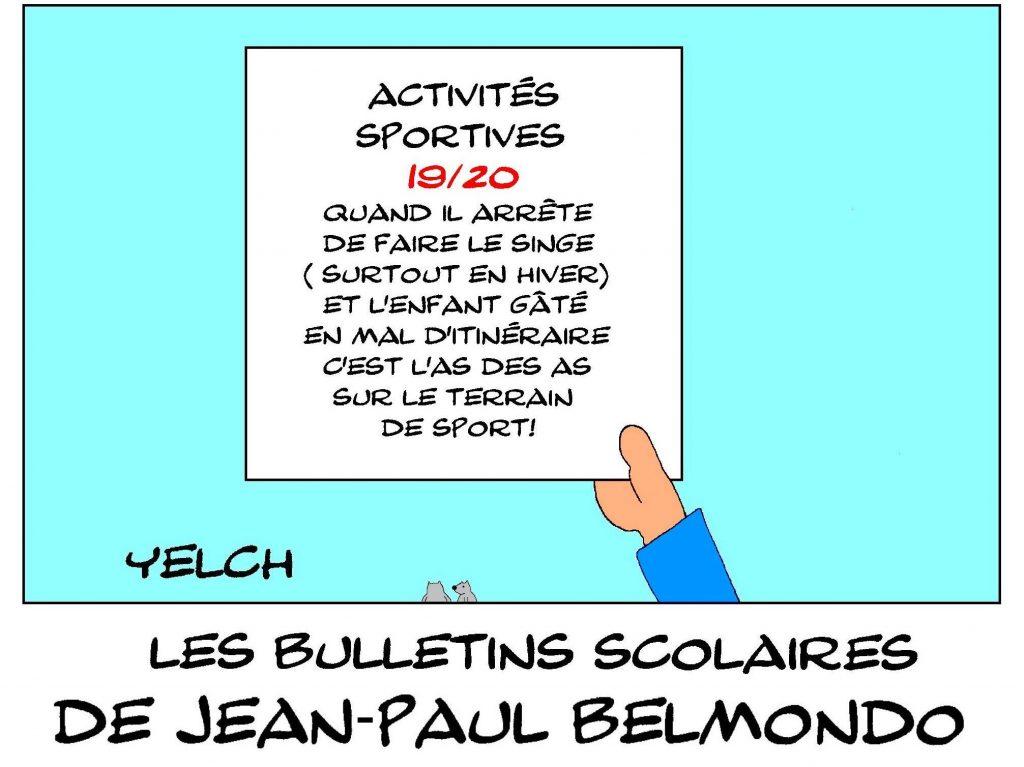 dessin humour image drôle Jean-Paul Belmondo école notes rire bulletin scolaire