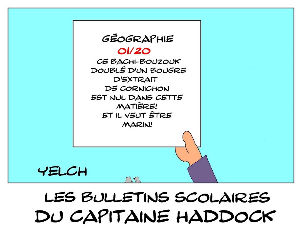 dessin humour image drôle Capitaine Haddock école notes rire bulletin scolaire Tintin