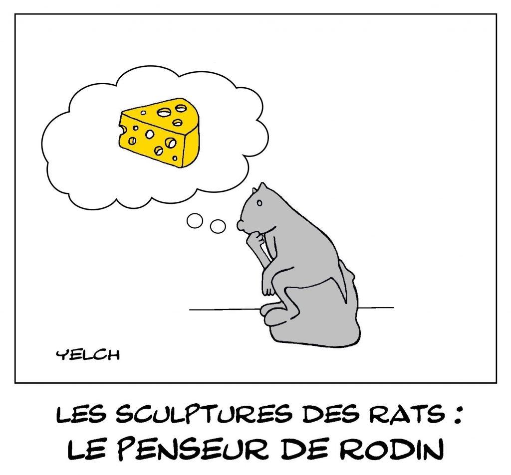 dessin humour image drôle sculpture sculpteur penseur Rodin
