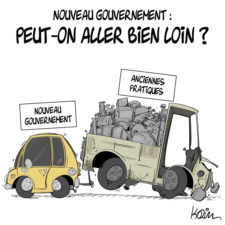 dessin d'actualité humoristique de Karim sur le nouveau gouvernement et les anciennes pratiques