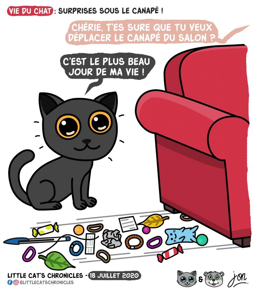 dessin humoristique des Little Cat's Chronicles sur les chats et les jouets planqués sous les canapés