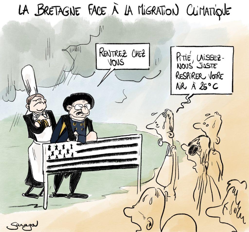 dessin presse humour Bretagne image drôle vacanciers canicule