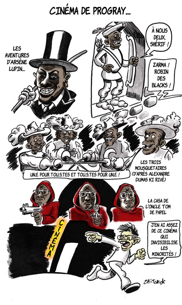 dessin presse humour progressisme image drôle racialisme minorités cinéma