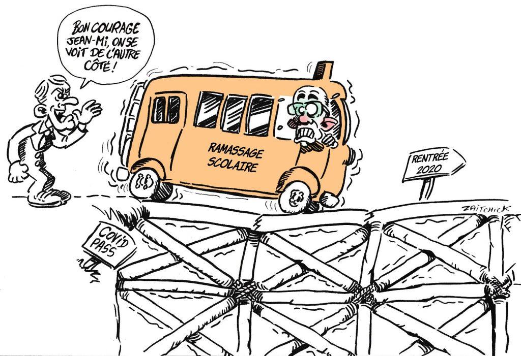 dessin presse humour rentrée scolaire image drôle racialisme Jean-Michel Blanquer Emmanuel Macron