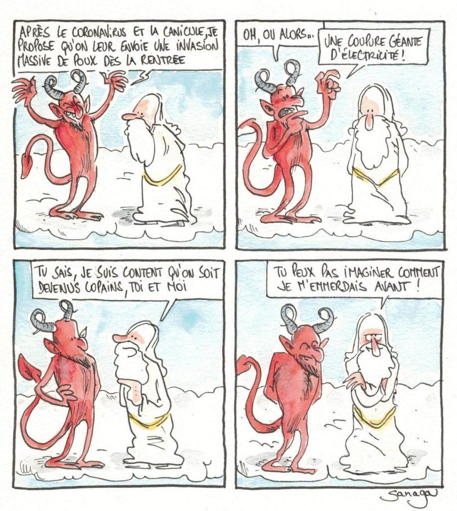 dessin presse humour coronavirus canicule image drôle Dieu Diable