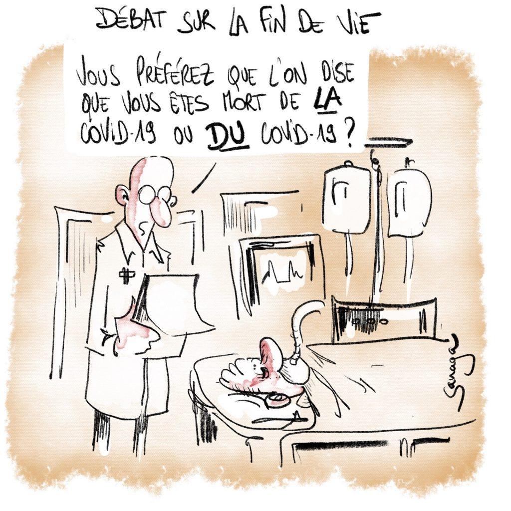 dessin presse humour coronavirus image drôle covid-19 fin de vie