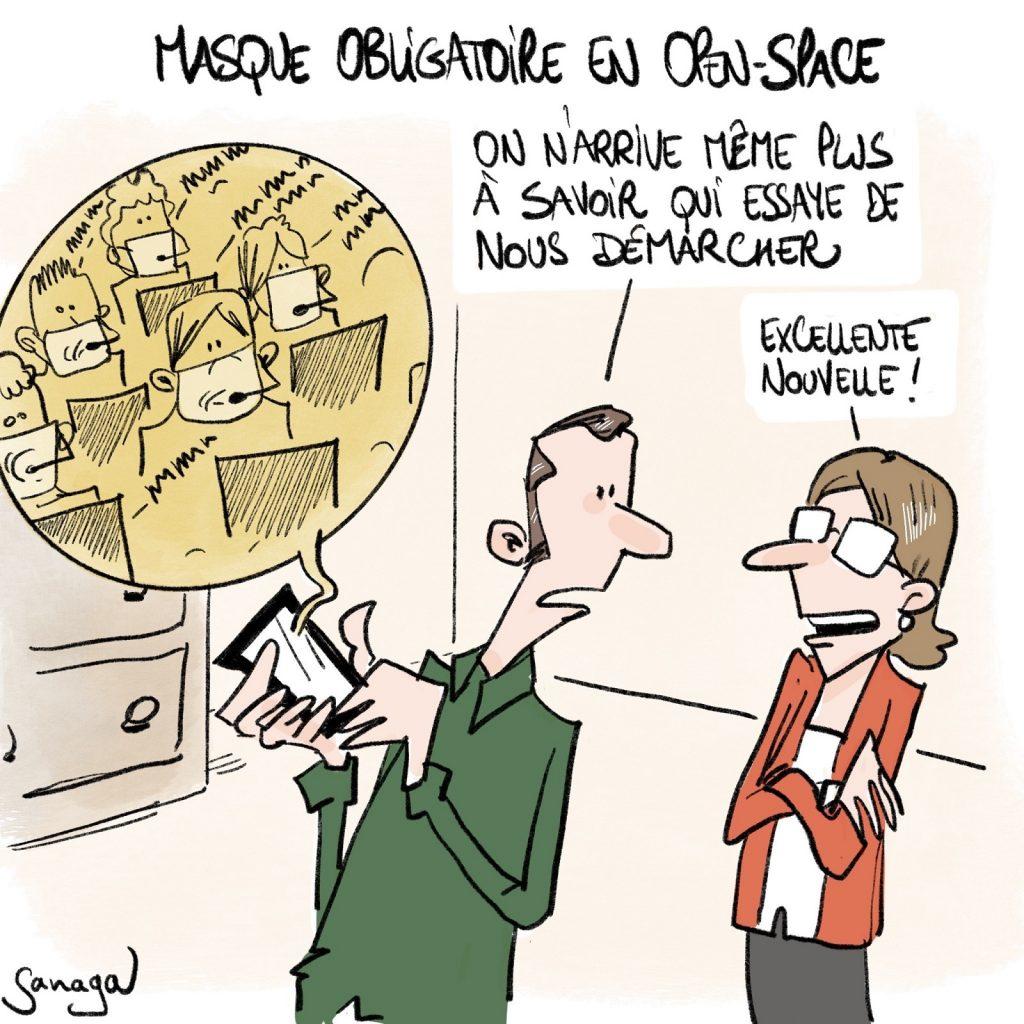 dessin presse humour coronavirus image drôle covid-19 obligation port du masque entreprise