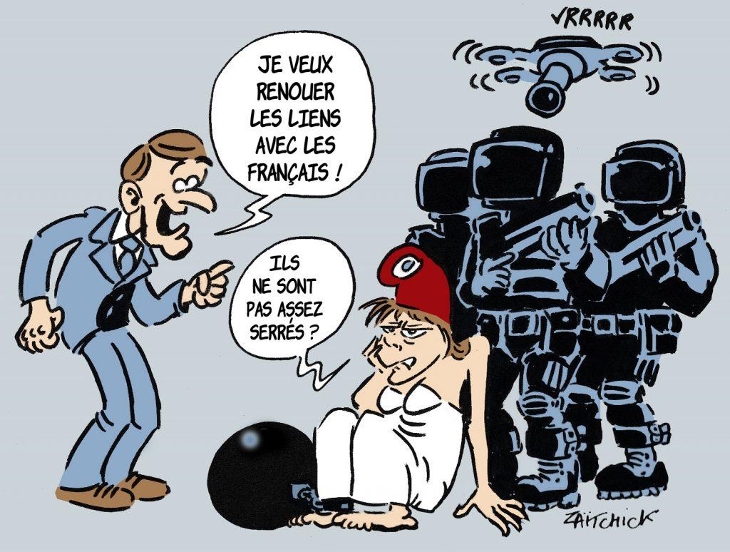 image drôle Emmanuel Macron dessin humour humoristique surveillance police