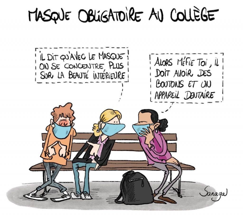 dessin presse humour coronavirus image drôle obligation port du masque collège