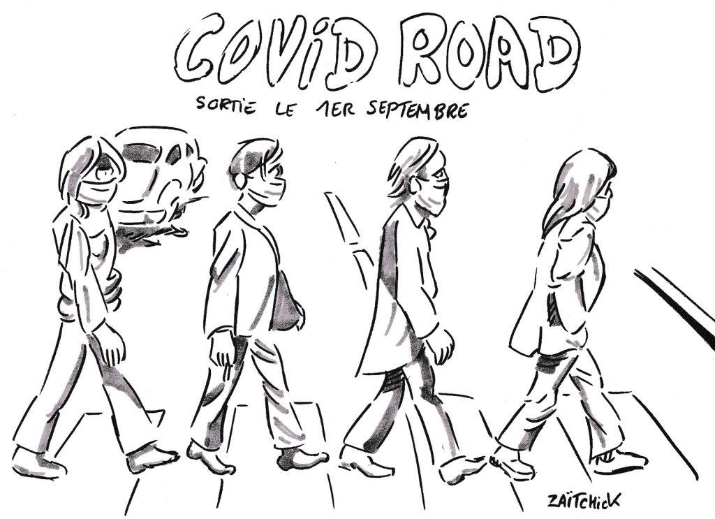 dessin presse humour coronavirus image drôle covid Abbey Road