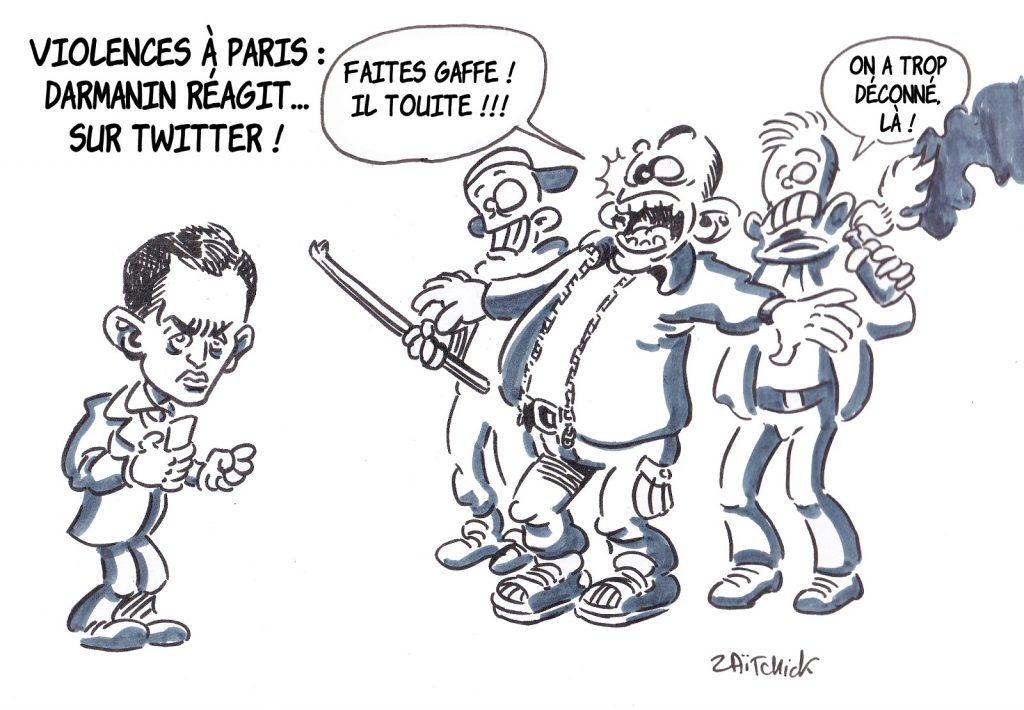 dessin presse humour Gérald Darmanin image drôle tweet violences à Paris PSG