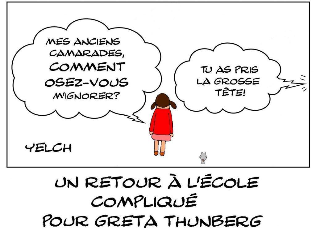 dessin presse humour Greta Thunberg image drôle retour école