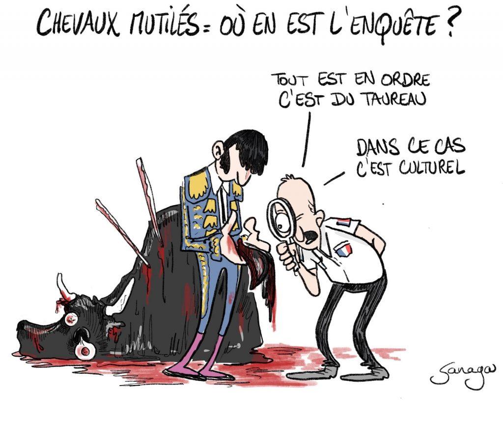 dessin presse humour corrida image drôle taureau torero mutilations chevaux
