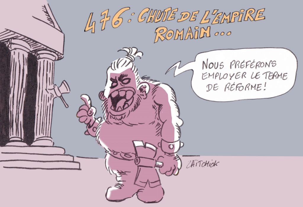 dessin presse humour Rome réforme chute image drôle Empire Romain