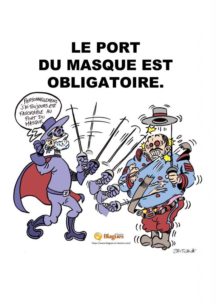 dessin presse humour affiche port du masque image drôle Zorro coronavirus