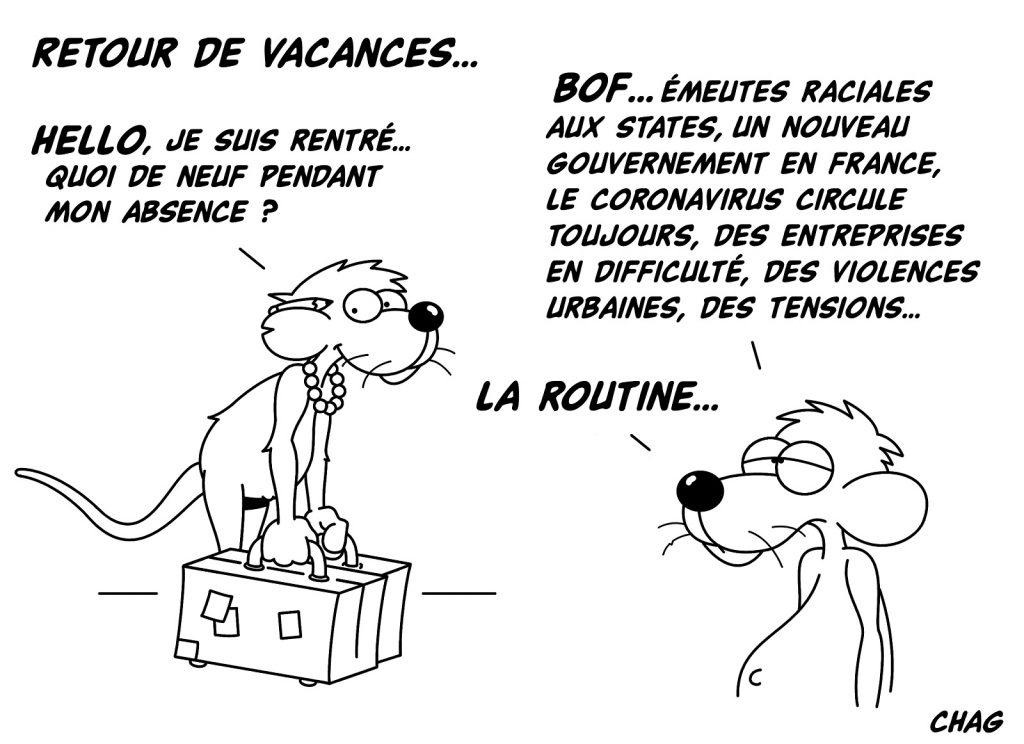 dessin humour retour vacances image humoristique drôle routine