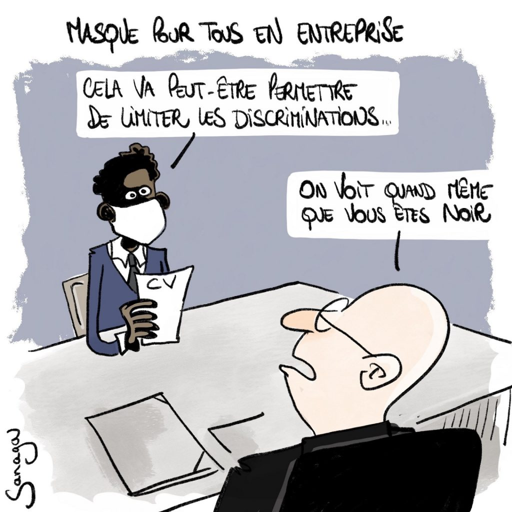 dessin presse humour coronavirus covid-19 image drôle discriminations masques entreprise