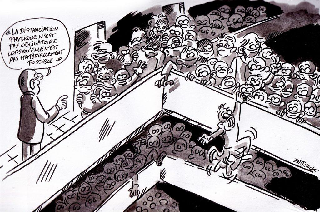 dessin presse humour coronavirus protocole sanitaire image drôle rentrée scolaire