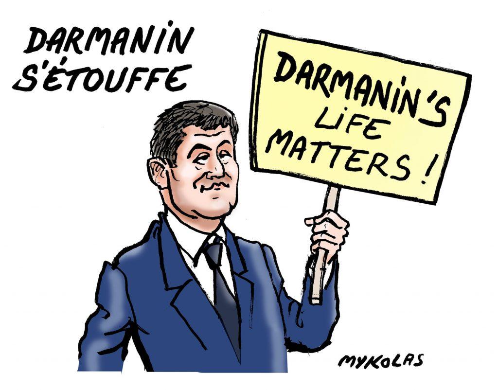 image drôle dessin humour flic Gérald Darmanin violences policières étouffement