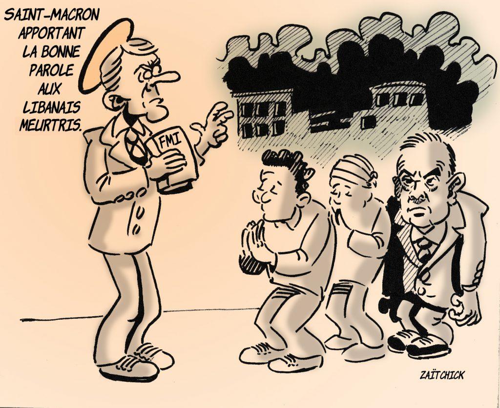 dessin presse humour Beyrouth image pieuse drôle Emmanuel Macron