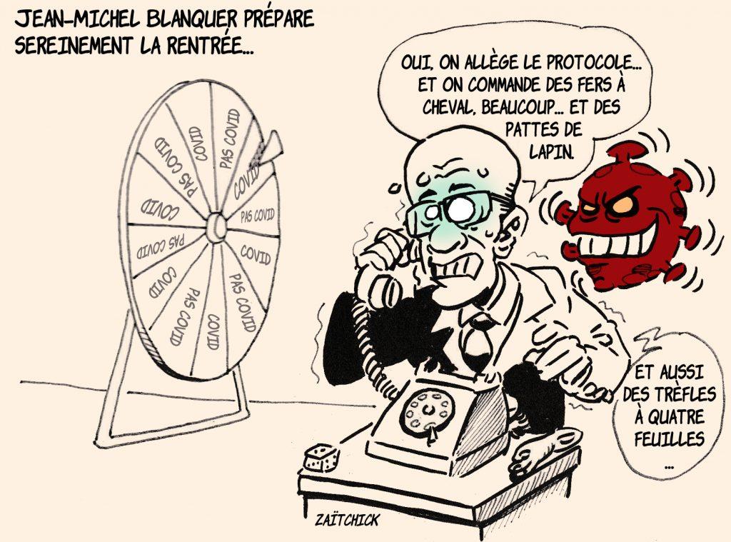 dessin presse humour Jean-Michel Blanquer image drôle coronavirus rentrée