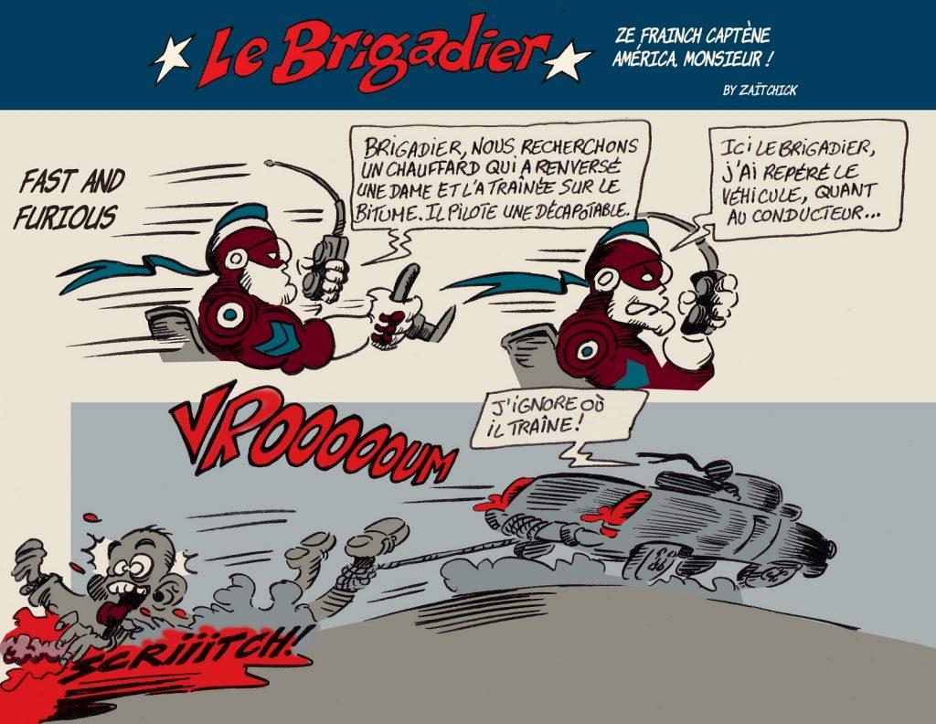 image drôle incivilités dessin humour flic brigadier racailles chauffards voitures Axelle Dorier