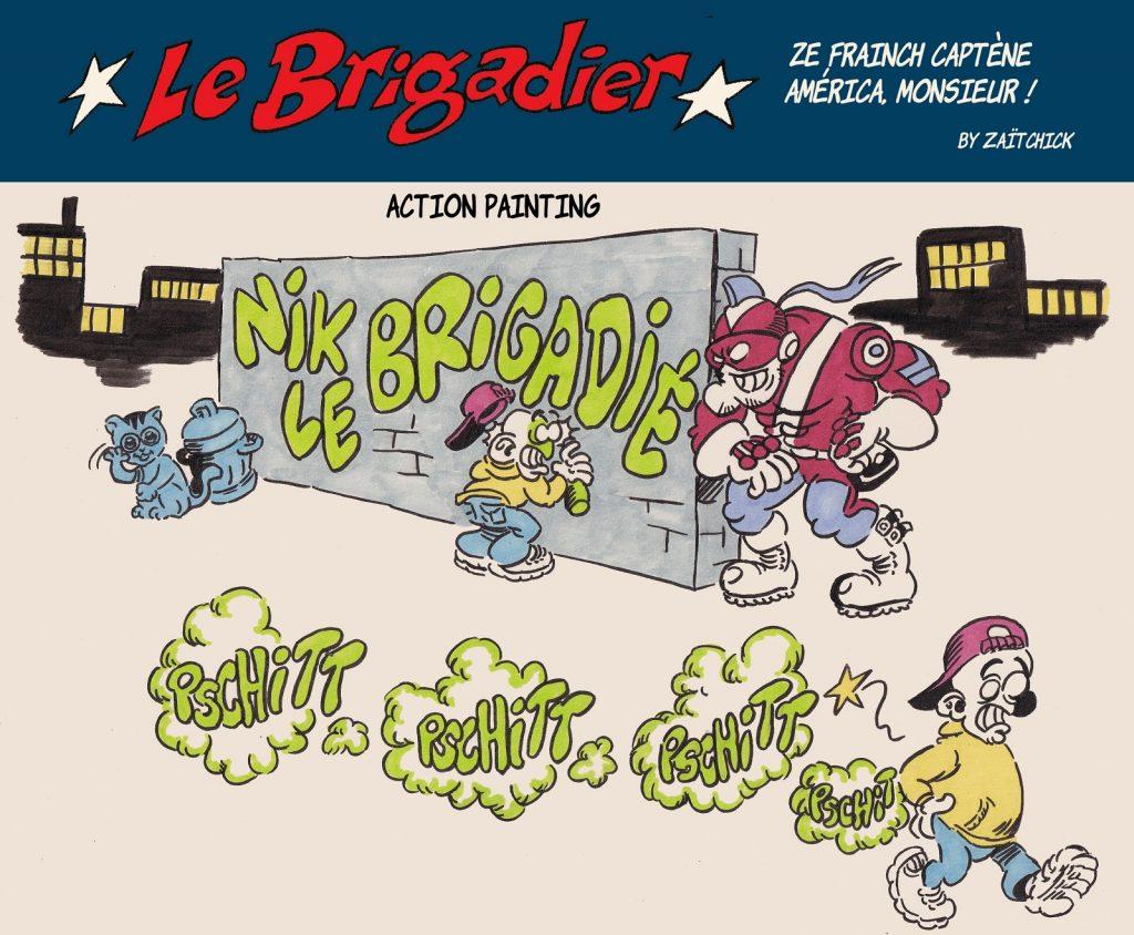 image drôle tagueur dessin humour flic brigadier fripouilles graffitis