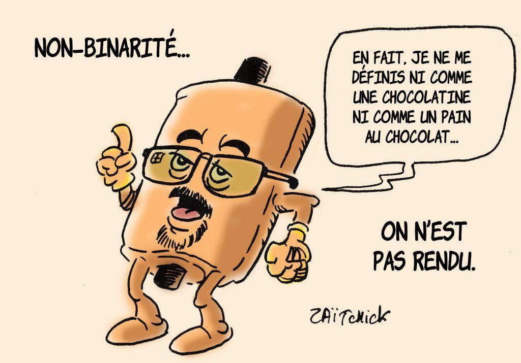dessin presse humour chocolatine image drôle pain au chocolat non-binaire