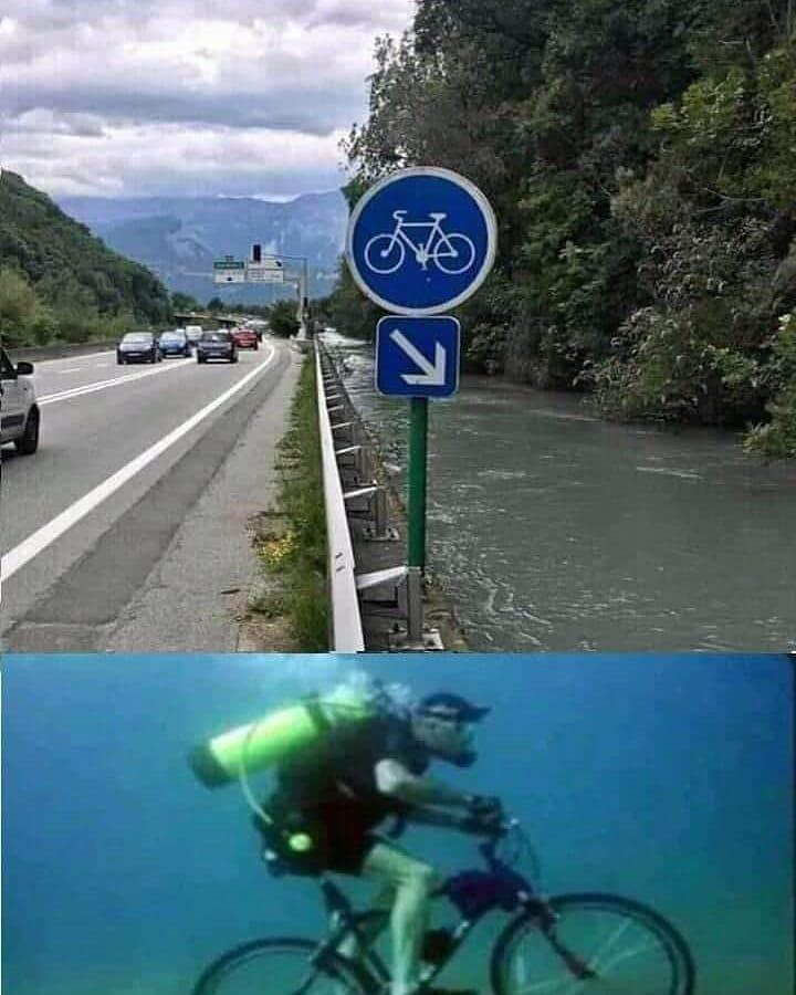 photo humour image insolite panneau piste cyclable obligatoire vélo sous l'eau