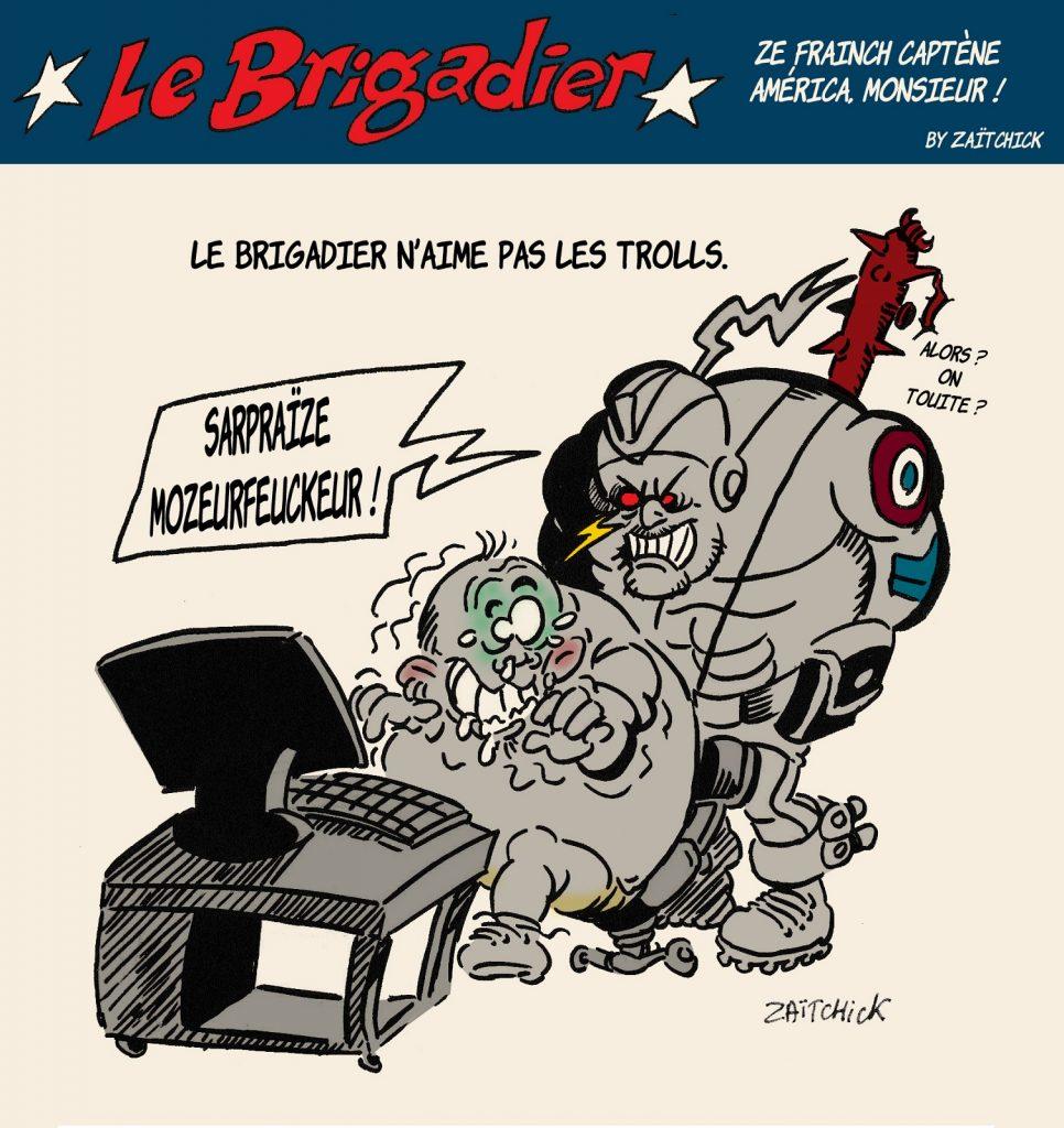 image drôle genre internet dessin humour flic brigadier trolls réseaux sociaux