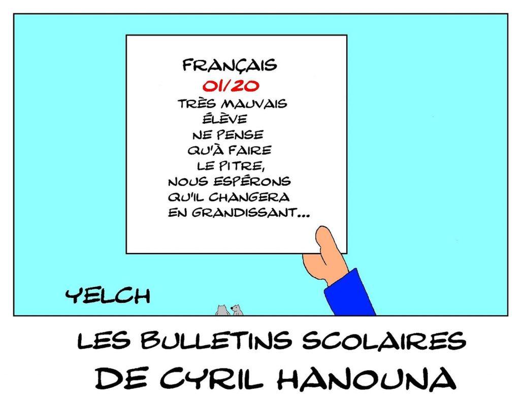 dessin humour Cyril Hanouna image drôle école notes rire bulletin scolaire pitre
