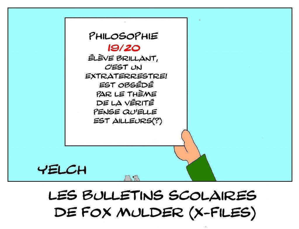 dessin humour Fox Mulder image drôle école notes rire bulletin scolaire X-Files