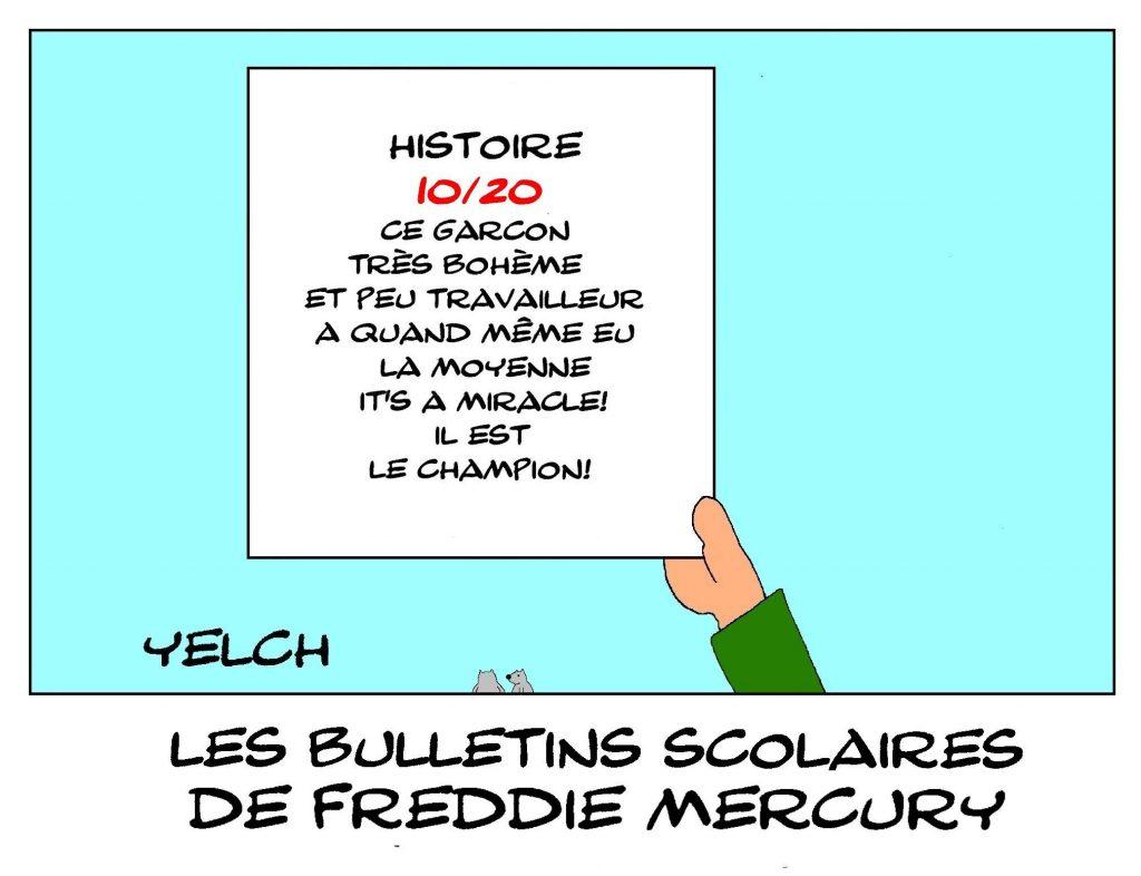 dessin humour Freddie Mercury image drôle école notes rire bulletin scolaire