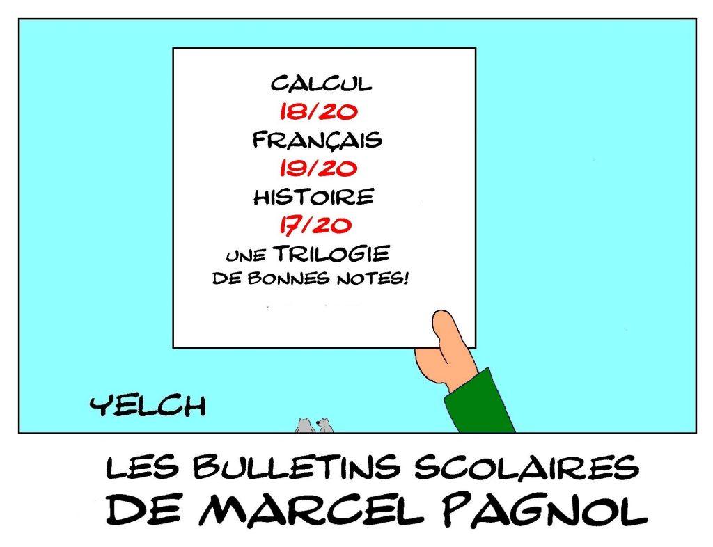 dessin humour image drôle Marcel Pagnol école notes rire bulletin scolaire cinéma