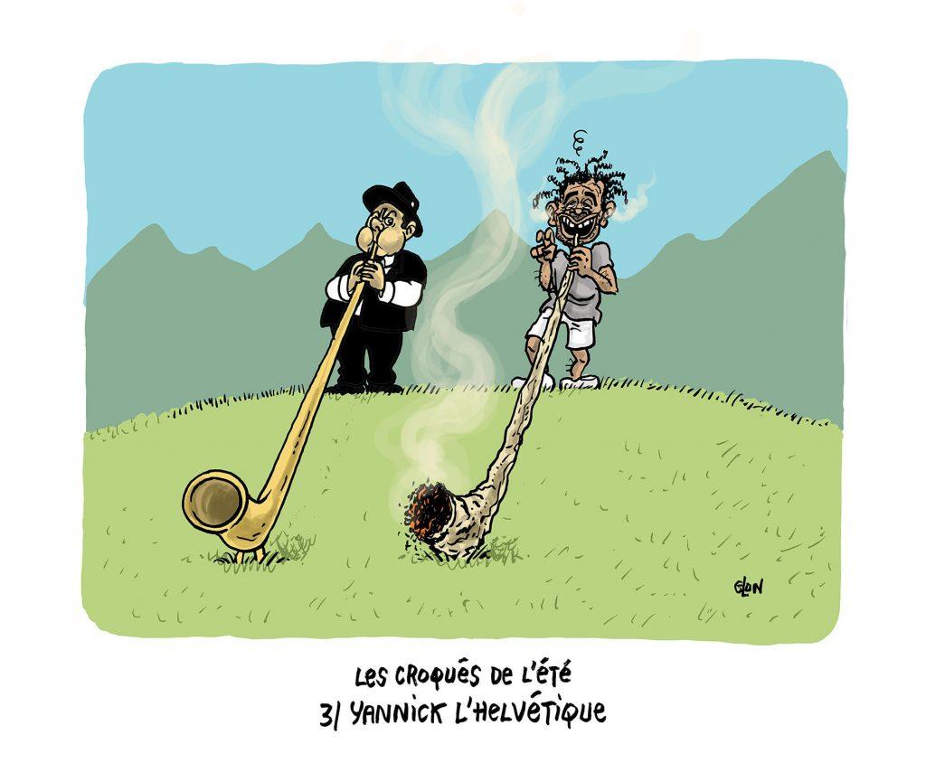 image drôle Yannick Noah dessin humoristique actualité vacances Suisse cor des Alpes