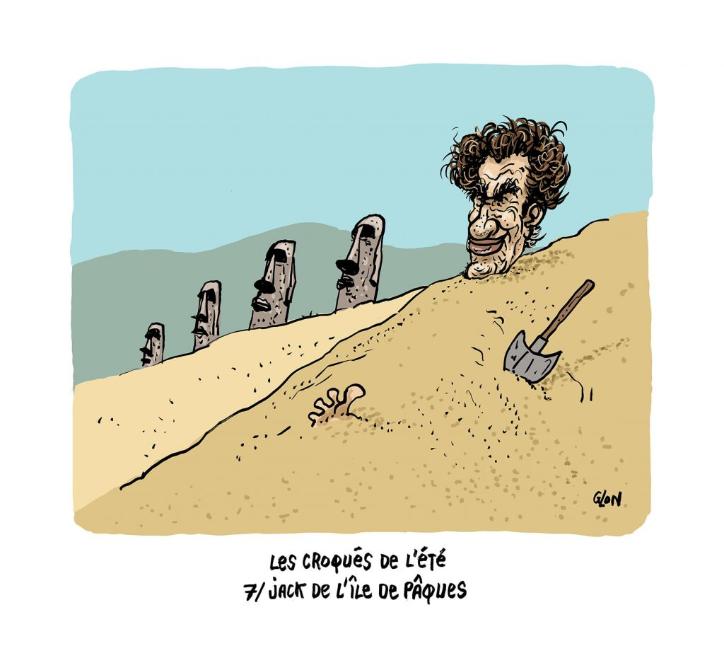 image drôle Jack Lang dessin humoristique actualité vacances île de Pâques Moaï