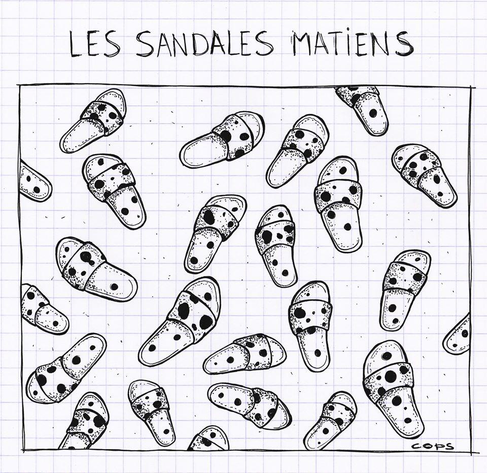 gag image drôle dalmatiens dessin blague humour sandales