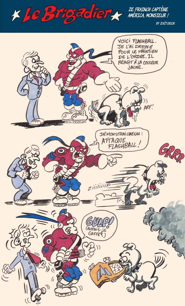 image drôle violences policières dessin humour flic brigadier gilets jaunes flashball