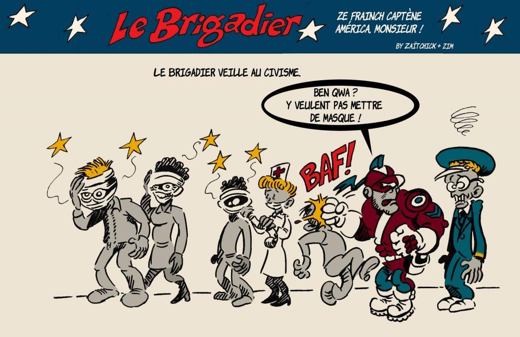 image drôle coronavirus dessin humour flic brigadier masque obligatoire covid-19