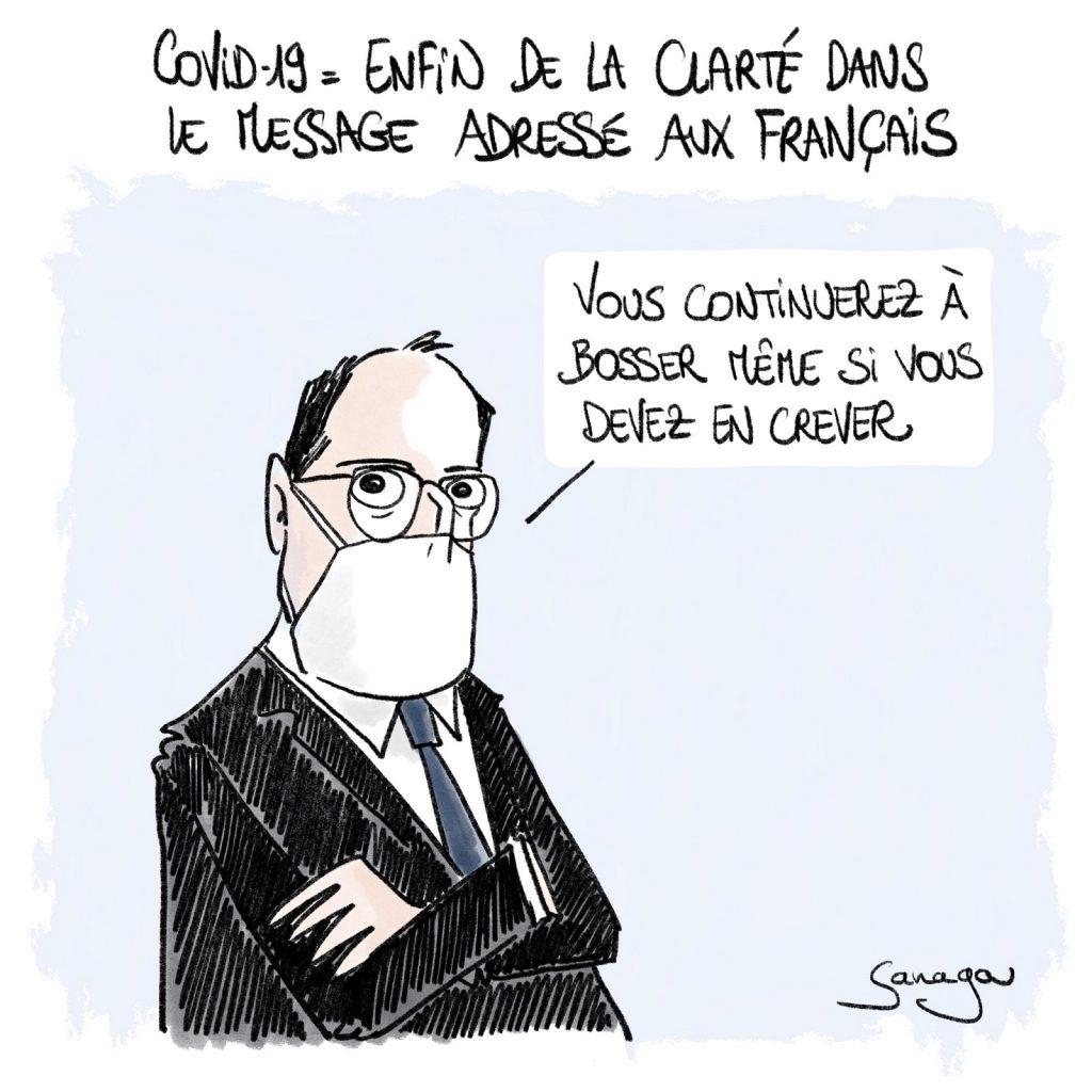 dessin presse humour coronavirus covid-19 image drôle France travail Jean Castex