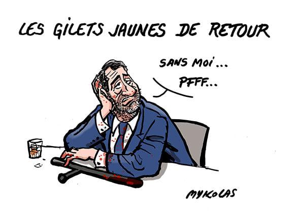 image drôle retour gilets jaunes dessin humour Christophe Castaner