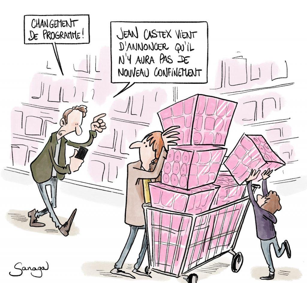 dessin presse humour coronavirus covid-19 image drôle reconfinement Jean Castex