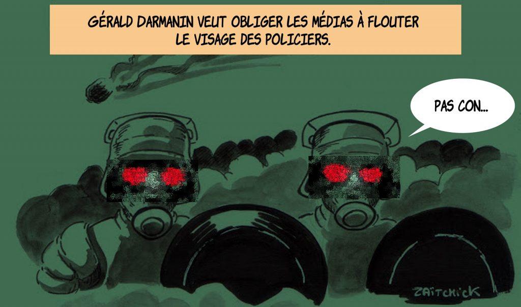dessin presse humour floutage policiers image drôle Gérald Darmanin