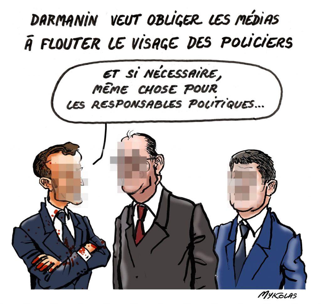 image drôle floutage policiers dessin humour Emmanuel Macron Gérald Darmanin Jean Castex