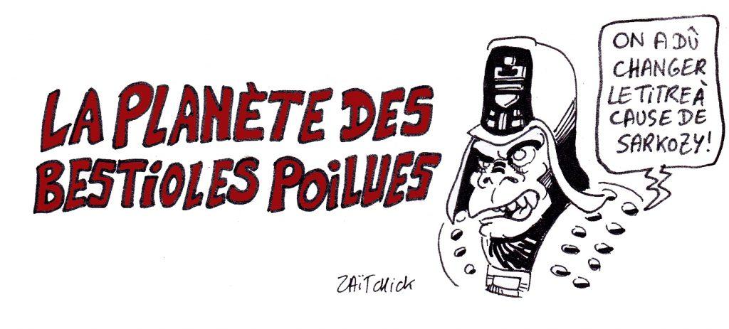 dessin presse humour Nicolas Sarkozy image drôle La planète des singes