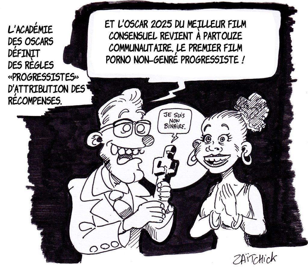 dessin presse humour progressisme cinéma image drôle partouze communautaire
